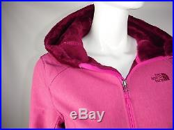 $179 Women The North Face SILKY Hoodie Jacket Coat Windwall SoftShell PINK SMALL