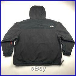 2000s The North Face Faded Black/Red Double Zip Hoodie/Jacket XXXL 3XL Mens