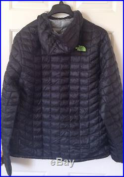 $220 NWT Mens The North Face Thermoball Hoodie Down Jacket Asphalt Gray/Green