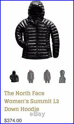 $374 The North Face Women's Jacket Summit Series L3 Down Hoodie Small TNF Black