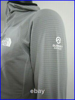 Mens The North Face Summit L2 Powergrid LT (Proprius) Fleece Hoodie Jacket Grey