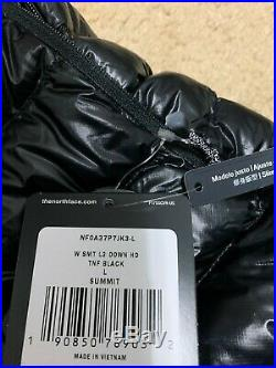 NEW The North Face Womens Summit L3 Down Hoodie Jacket TNF Black Large