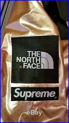 NWT SUPREME X NORTH FACE METALLIC M ROSE GOLD MOUNTAIN JACKET box crewneck hoody