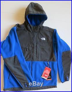 New Men's The North Face Nautical Blue / Grey Denali Hoodie Fleece Jacket Coat L