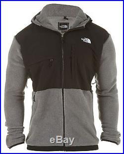 North Face Denali Hoodie Mens AMYM-MA9 Grey Black Fleece Hooded Jacket Size 2XL