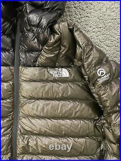 North Face Summit Series L3 800Pro Down Hoodie Mens Jacket Olive Green Black XL