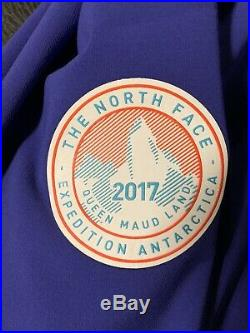 North Face Tekno Logo Expedition Antarctica 2017 Hoodie Sweatshirt Mens L Purple