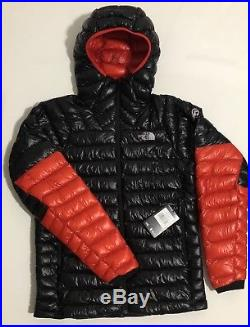 Nwt The North Face Men's Summit L3 Down Hoodie Jacket Black-fiery Red Msrp $350