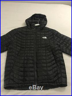 Preowned NORTH FACE MEN'S THERMOBALL INSULATED HOODIE BLACK/Silver Logo LARGE