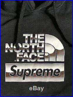 Supreme North Face Metallic Hoodie SS18 Men's LARGE black