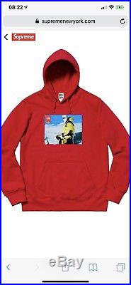 Supreme The North Face Hooded Sweatshirt Red sz. MED Sold Out FW18 Photo TNF