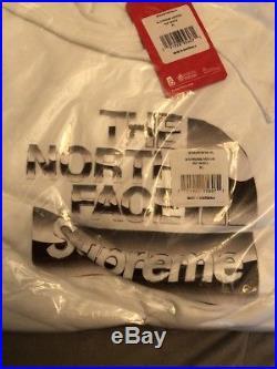 Supreme The North Face Metallic Logo Hooded Sweatshirt White XL 1000% Authentic