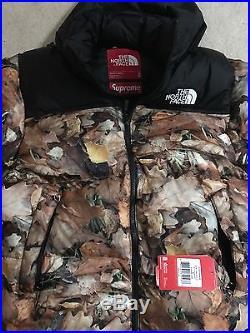 Supreme The North Face Nuptse Jacket Leaves New Size Medium M
