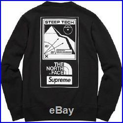 Supreme/The North Face Steep Tech Crewneck Black Sz Small Sweatshirt Hoodie TNF