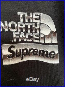 Supreme X North Face Hoodie Size L Black Genuine Excellent
