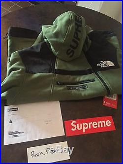 Supreme x The North Face SS/16 Olive Steep Tech Hooded Sweatshirt BNWT Medium og