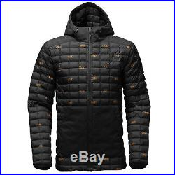 b2961e56b THE NORTH FACE Mens 2017 THERMOBALL SNOW HOODIE JACKET Black Double Vision  Print