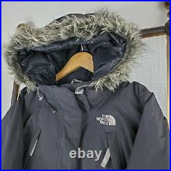 THE NORTH FACE Size Medium Womens Goose Down Hooded Bomber Jacket Coat Black