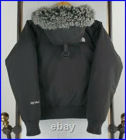 THE NORTH FACE Size Small Womens Goose Down HyVent Hooded Bomber Jacket Black