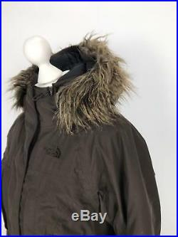 THE NORTH FACE Womens Fur Hooded Down Coat Puffer HYVENT Parka Small S Brown