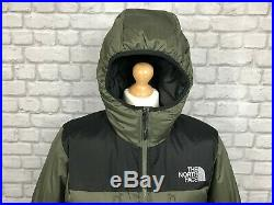 The North Face Mens Uk L Khaki Black Himalayan Down Hooded Jacket Rrp £200 Puffa