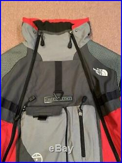 The North Face Steep Tech Hoodie Red Gray Grey Ski Full Zip Mens Large CLEAN
