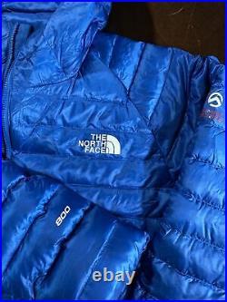 The North Face Tonnerro Mens Sz L Blue Summit Series 800 Puffer Hoodie Jacket